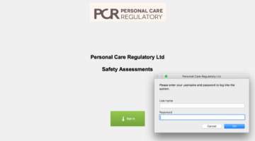 Personal Care Regulatory - Login Screen